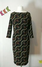 Next Retro 1960s Geo Brown Yellow Midi Bodycon Sheath Dress 3/4 Sleeve UK 12 VGC