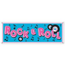 Rock and Roll Music Sign Bannière - 5 FT long - 50's Fête Decorations