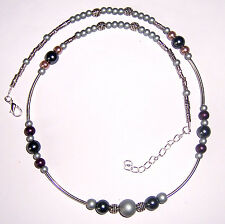 +Kette,versilbert,Perlen,Lila/Anthrazit,Perlenkette / Halskette,UNIKAT