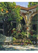 COLOR PRINT OF OIL PAINTING, CALIFORNIA MISSION #7