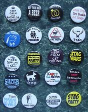 20 x STAG DO NIGHT BUTTON BADGES 1 INCH BRIDE GROOM BEST MAN HEN PARTY OUTFIT