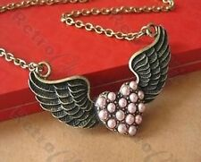 BIG PEARL LOVE HEART retro tattoo ANGEL WINGS NECKLACE vintage brass ROCKABILLY