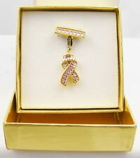 Estee Lauder Gold Tone Charm / Brooch - Pink Breast Cancer Ribbon