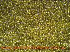 20 grams, 3.6mm Silver Lined Seed Beads - YELLOW