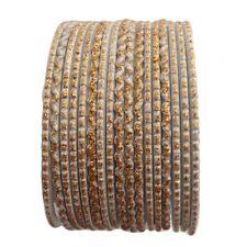 17 Piece White & Gold Glitter Bangles - Size 2.6