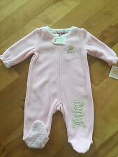 Juicy Couture Toddler Girl Pajamas Footed Sleeper Fleece Pink NWT 3-6 Months