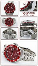 TAUCHER AUTOMATIK UHR 30 BAR WD MASSIVE IN FERARI ROT ADVANTAGE XXL GRÖSSE 45MM