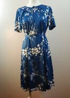 Vintage 50's Blue Floral Short Sleeve Key Hole Belted Dress Size Medium M10