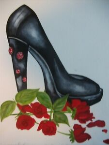 "ORIGINAL painting 9""x""12 Black high heel shoes red Roses Watercolor Signed ART"