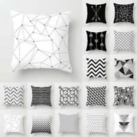 Pillow Case Geometric Pattern Home Cushion Cover Bed Sofa Waist Throw Decor UK
