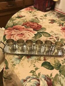 Antique 800 German Sterling Silver Sip Shot Glasses w Tray~PAUL MANN Sterling