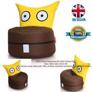 kids Owl Bean Bag420D Flame Retardant BS 5852 Oxford PVC50cm (D)x 54cm (H) Y/B