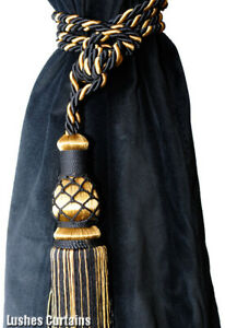 Black/Gold Window Treatment Curtain Drapery Decor Tassel Rope Cord/Rope Tie Back