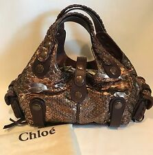 Chloe Copper Metallic Silverado Python Handbag