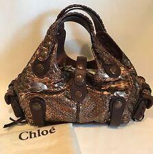 Chloe Copper Metallic Silverado Python Handbag