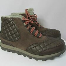 New Women's Patagonia Sable Brown Quilted Leather & Suede Winter Boots Shoes 7m