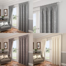 """Carlton Leaf/Floral Lined Ready Made 3"""" Tape Top Pencil Pleat Curtains Pair"""