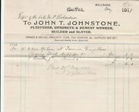 John T. Johnstone 1917 Moffat Clearing 2 Men One+Half Hrs Paid Invoice Ref 41500