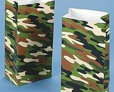 Pack of 12 - Army Camouflage Print Paper Party Bags
