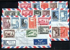 MALAYA , PENANG , PAHANG , KELANTAN , KEDAH , 1963 ,4 nice REG.COVERS to Germany