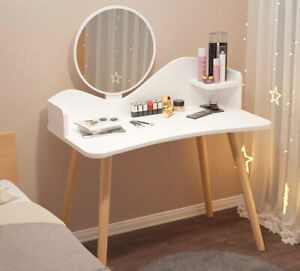 Modern Dressing Table Girl Women Makeup Cosmetic Storage w/ Wooden Legs Bedroom