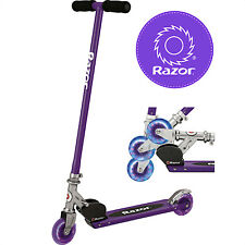 Razor Aunthentic S Lighted Wheels Purple Folding Scooter With Rear Fender Brake