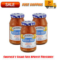 (3 Pack) Smucker's Sugar Free Apricot Preserves, 12.75 oz, Natural Flavor, Jam