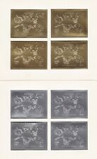 Guyana 1992 2 Sheets of 4 Gold-Silver Dinosaurs  Fossils