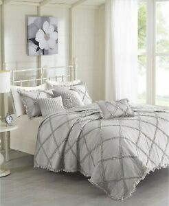 Madison Park Rosie 6-Pc Quilted Cotton Percale Coverlet Set FULL / QUEEN - Gray