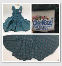 VTG Oshkosh Plaid Girls Size 6 Jumper Dress USA Made EUC Twirl Full Circle Denim