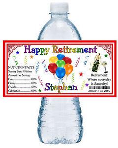 20 RETIREMENT PARTY WATER BOTTLE LABELS