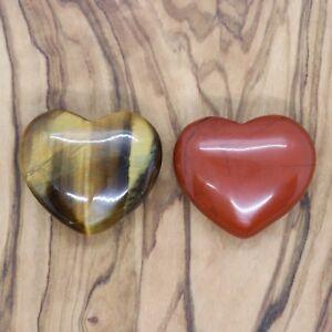 Tiger's Eye Heart & Red Jasper Heart Gift Set 25mm Love Valentines Present