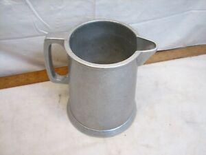 Lg Pewter Stein Tankard Mug Water Pitcher Plough Tavern Vintage Colonial
