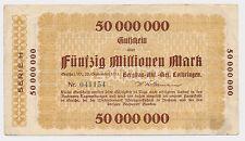 GERTHE 50 000 000  Mark Bergbau AG Lothringen Notgeld 1923 inflation (21
