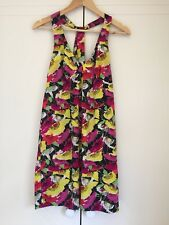 STELLA floral women's cross over back sleeveless v neck summer shift dress sz 12