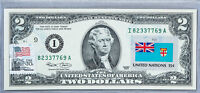 Two Dollar Note US Currency Paper Money $2 2003 Gem Unc Business Gift Flag Fiji