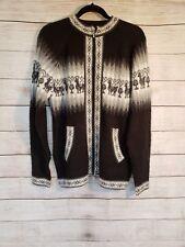 Alpaca Connection Peru cardigan sweater L zipper wool baby alpaca black gray