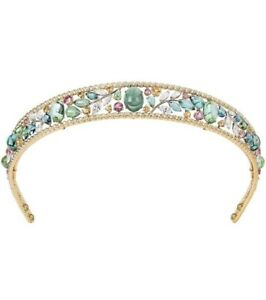 14k Yellow Gold over 925 Sterling Silver Multi Color Tiara Handmade Head Jewelry