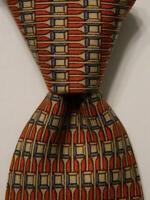HERMES 934 IA Mens 100% Silk Necktie FRANCE Luxury Geometric Tan/Orange/Blue EUC