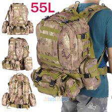 55L Outdoor Military Tactical Backpack Rucksack Camping Hiking Bag 600D Oxford