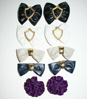 Lot 5 Pairs of Vintage Shoe Clips Buckles Charms Clip On Bows Black Blue White