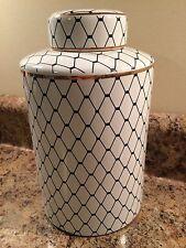 Navy Blue and White Diamond Pattern Ceramic Vase Home Decor With Gold Trim