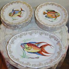 Vintage Italian Royal Fine Porcelain Fish Plate Set With Platter 13 Piece