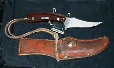 "Schrade 152OT Sharpfinger Knife 7-1/4"" O.A.L. W/Original Sheath & Lanyard Clean"
