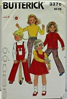 Butterick Sewing Pattern 3370 Childs Jacket Jumper Overalls Top Pants Size 5