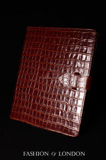 iPad 2 3 & 4 (Brown Crocodile) Real Leather Croc Print Cover Case Stand Folio