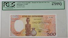 1985 Central African Republic 500 Fr Note SCWPM# 14a PCGS 67 PPQ Superb Gem New