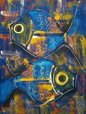 Mystery Artist Signed Mid Century Modern Cubism Blue Fish Oil Painting 9 x 12