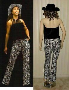 Mustang Sally Dance Costume Cowgirl Zebra Print Pants & Fringe Top Adult Medium