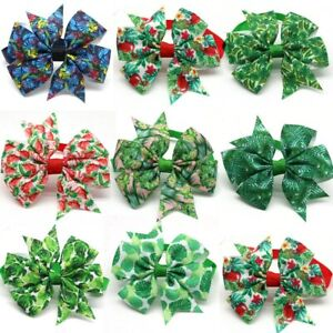 100Pcs Small Dog Green Bow Tie Collar Pet Cat Bowties Neckties Grooming Supplies